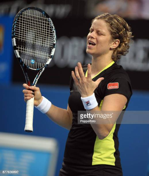 Kim Clijsters of Belgium gets frustrated against Daniela Hantuchova of Slovakia during a Ladies Singles 3rd round match on day five of the 2012...