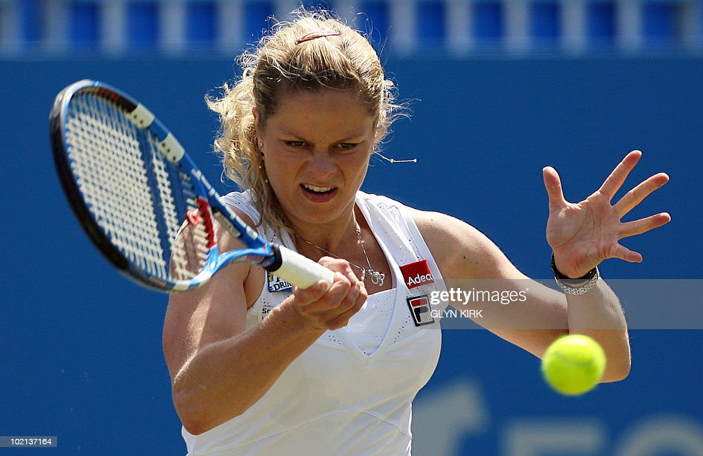 Kim Clijsters of Belgium hits a shot during her second round singles match against Lucie Safarova of the Czech Republic on the third day of the AEGON International tennis tournament in Eastbourne, southern England, on June 16, 2010.