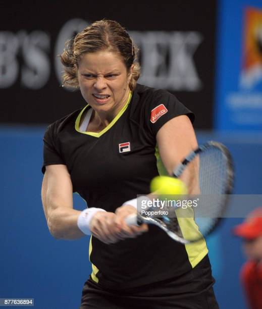 Kim Clijsters of Belgium in action against Daniela Hantuchova of Slovakia during a Ladies Singles 3rd round match on day five of the 2012 Australian...