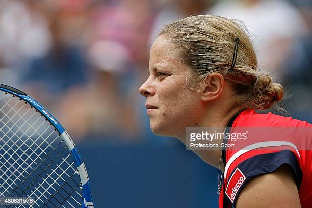 Kim Clijsters of Belgium in action during her match against Viktoriya Kutuzova of Ukraine during day one of the 2009 US Open at the USTA Billie Jean...