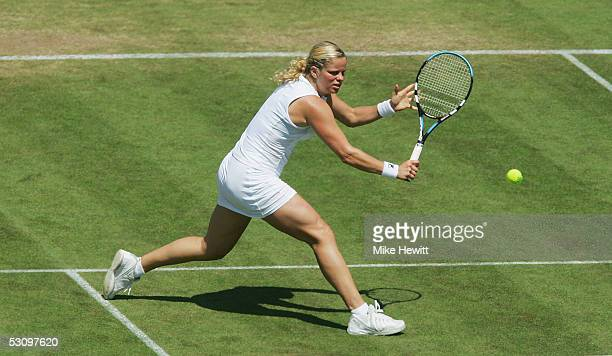 Kim Clijsters of Belgium in action during her victory over Vera Douchevina of Russia in the final of the Hastings Direct International Championships...