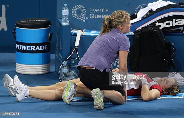 Kim Clijsters of Belgium is injured and eventually withdraws from her match against Daniela Hantuchova of Sovlakia in their Women's semi final match...