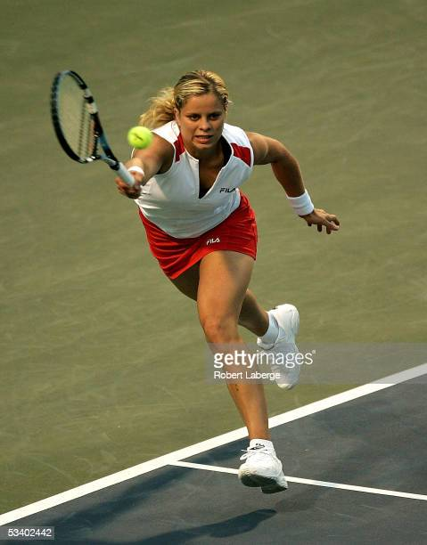 Kim Clijsters of Belgium plays against Virginie Razzano of France during the second round of the Sony Ericsson WTA Tour Rogers Cup tennis tournament...