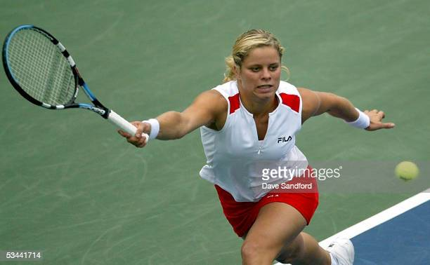 Kim Clijsters of Belgium plays and defeats Flavia Pennetta of Italy in their quarterfinal match at the Sony Ericsson WTA Tour Rogers Cup tennis...