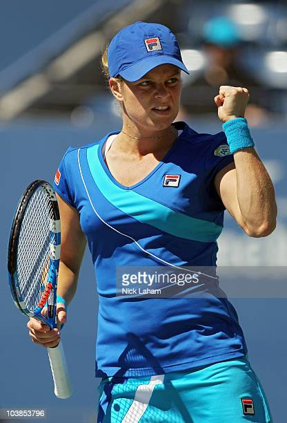 Kim Clijsters of Belgium reacts after a point against Ana Ivanovic of Serbia during her women's singles match on day seven of the 2010 US Open at the...