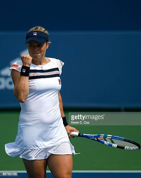 Kim Clijsters of Belgium reacts after winning a point against Dinara Safina of Russia during Day 5 of the Western & Southern Financial Group Women's...