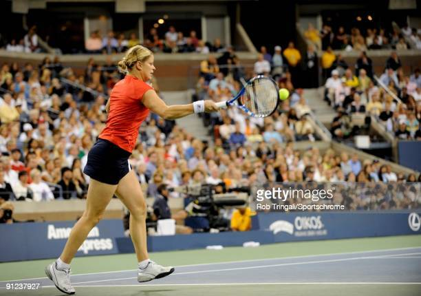 Kim Clijsters of Belgium returns a ball to Caroline Wozniacki of Denmark in the Women's Singles final on day fourteen of the 2009 US Open at the USTA...