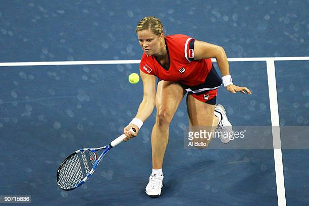 Kim Clijsters of Belgium returns a shot to Caroline Wozniacki of Denmark during the Women�s Singles final on day fourteen of the 2009 US Open at the...