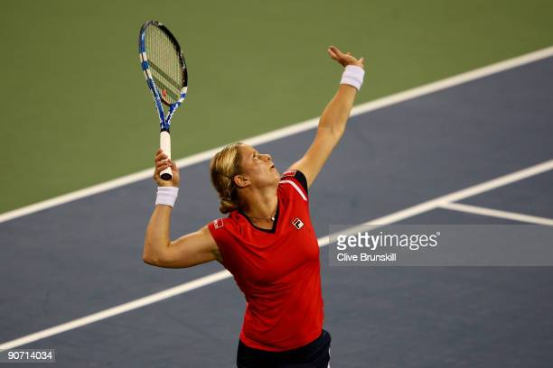 Kim Clijsters of Belgium serves to Caroline Wozniacki of Denmark during the Women�s Singles final on day fourteen of the 2009 US Open at the USTA...