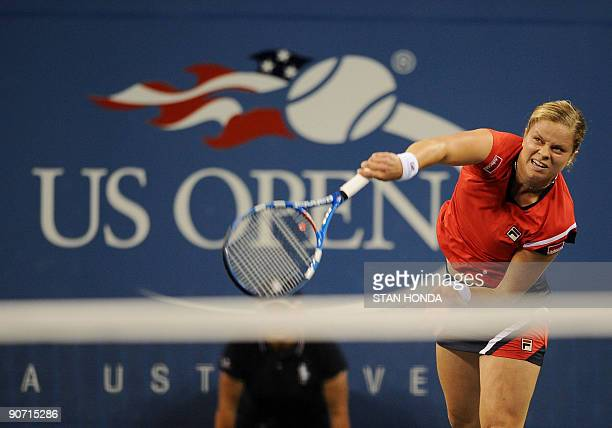 Kim Clijsters of Belgium serves to Caroline Wozniacki of Denmark during the Women's Finall match at the 2009 US Open at the USTA Billie Jean King...