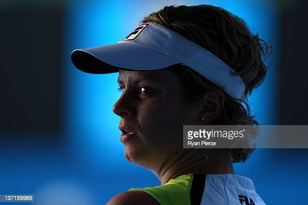Kim Clijsters of Belgium takes a breakl during her round one match against Maria Joao Koehler of Portugal during day one of the 2012 Australian Open...