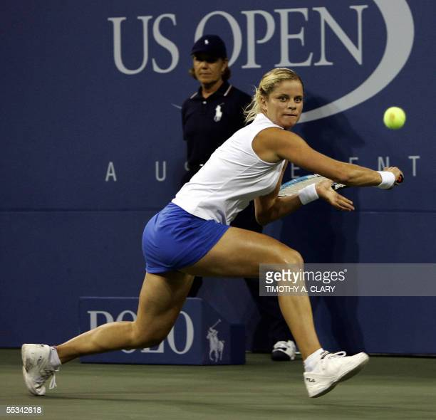 Kim Clijsters of Belguim returns against Mary Pierce of France during the women's final at the US Open Tennis Championships 10 September 2005 at the...
