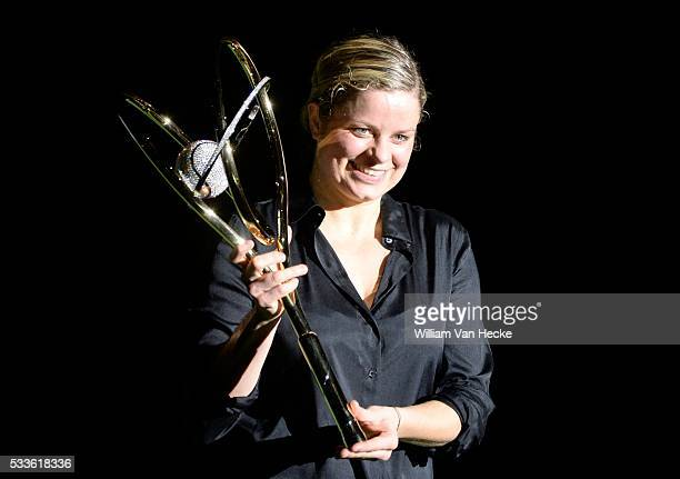 Kim Clijsters tournament director gives to Andrea Petkovic pictured with the golden racket as winner of the final of tthe Diamond Games tennis...