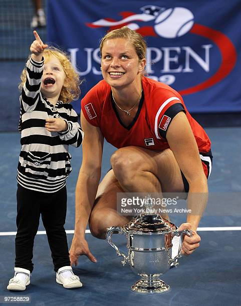Kim Clijsters with daughter Jada Ellie after she won the Women's Singles Final playing Caroline Wozniacki September 13 2009 at the US Open in...