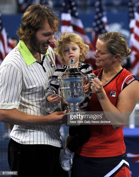 Kim Clijsters with daughter Jada Ellie and husband Brian Lynch after she won the Women's Singles Final playing Caroline Wozniacki at the US Open in...