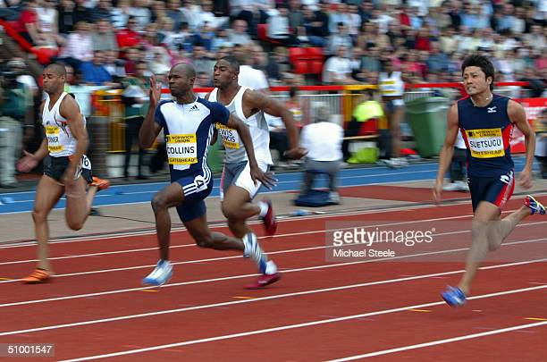 Kim Collins leads Mark Lewis Francis and Shingo Suetsugu of Japan in the mens 100m during the Norwich Union Athletics Grand Prix at Gateshead...
