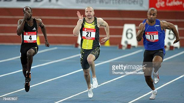 Kim Collins of St. Kits, Tobias Unger of Germany and Marius Broening of Germany in actionat the 60 meters competition during the Sparkassen Cup 2008...