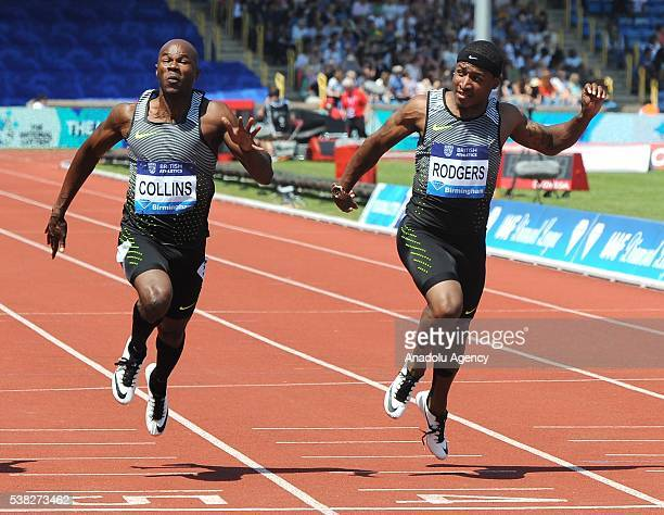 Kim Collins of St Kitts and Nevis wins the Men's 100m race followed by second place Michael Rodgers of USA during the 2016 IAAF Diamond League...
