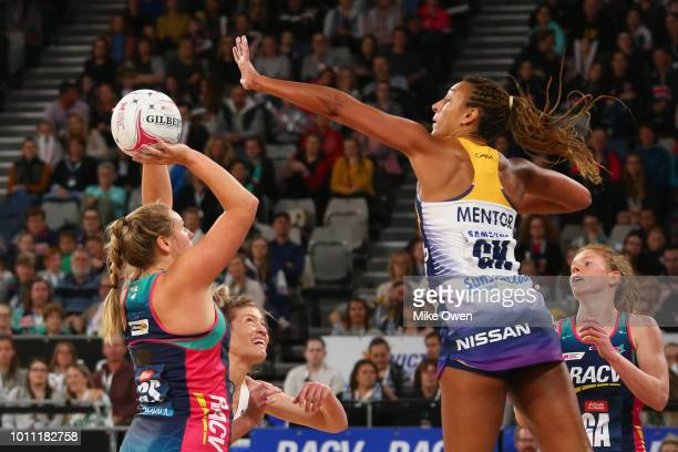 Kim Commane of the Vixens looks to shoot during the round 14 Super Netball match between the Vixens and the Lightning at Hisense Arena on August 5...