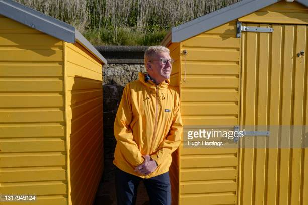 Kim Conchie, CEO of Cornwall Chamber of Commerce, poses for a photo standing among the beach huts on Castle Beach on May 14, 2021 in Falmouth,...