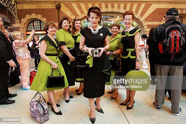 Kim Condon takes a photograph with her friends prior to boarding the 'Elvis Express' at Central Station on January 7 2016 in Sydney Australia The...