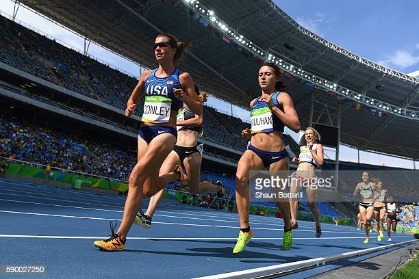 Kim Conley and Shelby Houlihan of the United States compete during the Women's 5000m Round 1 - Heat 1 on Day 11 of the Rio 2016 Olympic Games at the...