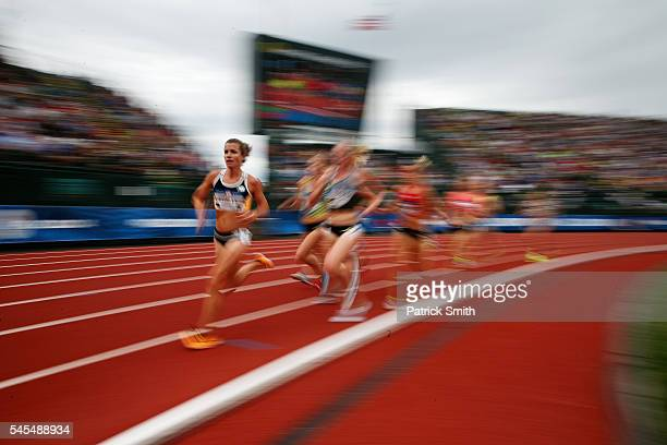 Kim Conley competes in the first round of the Women's 5000 Meter during the 2016 US Olympic Track Field Team Trials at Hayward Field on July 7 2016...