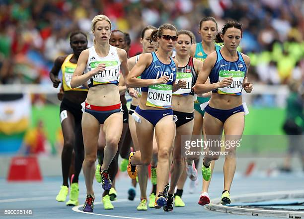 Kim Conley of the United States leads the pack during the Women's 5000m Round 1 - Heat 1 on Day 11 of the Rio 2016 Olympic Games at the Olympic...