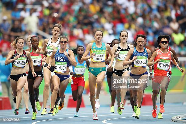 Kim Conley of the United States, Madeline Heiner Hills of Australia, Shelby Houlihan of the United States, and Miyuki Uehara of Japan lead the pack...