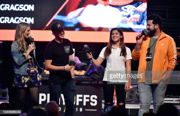 Kim Coon Noah Gragson driver of the Safelite AutoGlass Toyota drive Hailie Deegan and Daryl Motte appear on stage at the Monster Energy NASCAR Cup...
