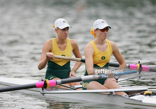 Kim Crow and Sarah Cook of Australia 1 in action during the Womens Pairs Heat 3 during day 1 of the FISA Rowing World Cup at the Bosbaan on June 22...
