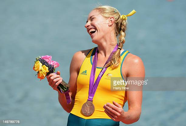 Kim Crow of Australia celebrates with her bronze medal during the medal ceremony for the Women's Single Sculls on Day 8 of the London 2012 Olympic...