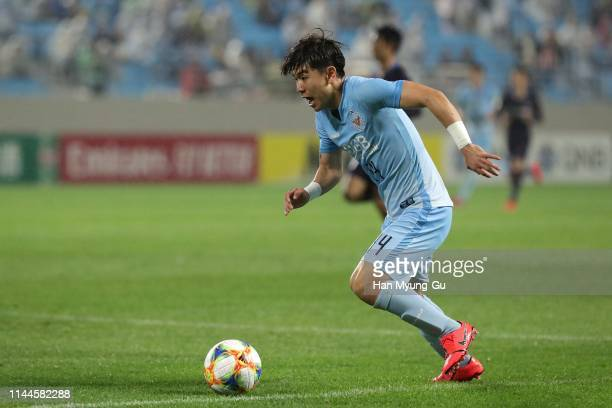 Kim Dae-Won of Daegu FC in action during the AFC Champions League Group F match between Daegu FC and Sanfrecce Hiroshima at Daegu Forest Arena on...