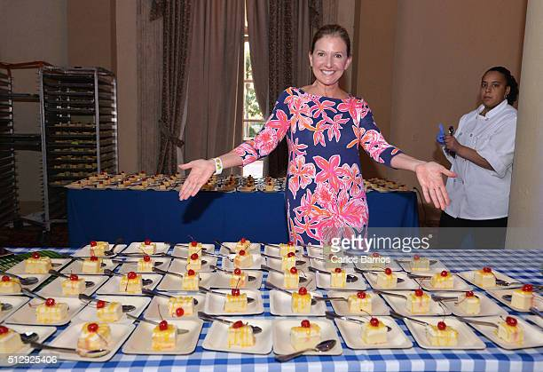 Kim Daisy serves Daisy Cakes at Goya Foods' Swine Wine Presented By The National Pork Board Hosted By Lorena Garcia 2016 Food Network Cooking Channel...