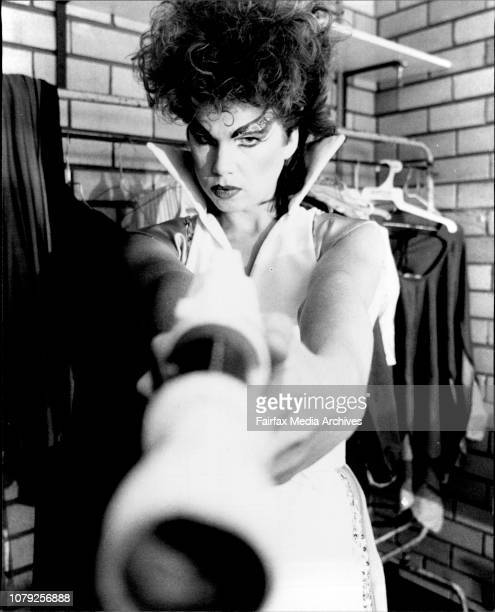 Kim Deacon who plays Lady Vahn the lead role in Stone of Rikaw at rehearsals at the Coleman Hall Bondi Jnt today December 07 1982