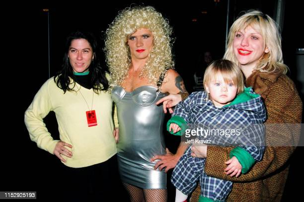 Kim Deal Flea Courtney Love And Francis Bean Cobain at The 1993 MTV Live And Loud at Pier 48 on December 13th 1993 in Seattle WA
