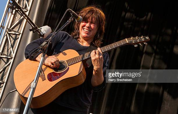 Kim Deal of The Breeders performs during the 2013 Pitchfork Music Festival at Union Park on July 20 2013 in Chicago Illinois