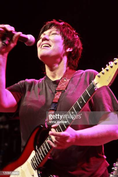 Kim Deal of the Breeders performs with the Yeah Yeah Yeahs in concert at The Greek Theatre on September 17 2009 in Los Angeles California