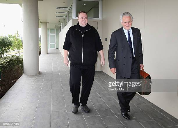 Kim Dotcom is released on bail at North Shore District Court on February 22, 2012 in Auckland, New Zealand. The megaupload.com founder, and four...