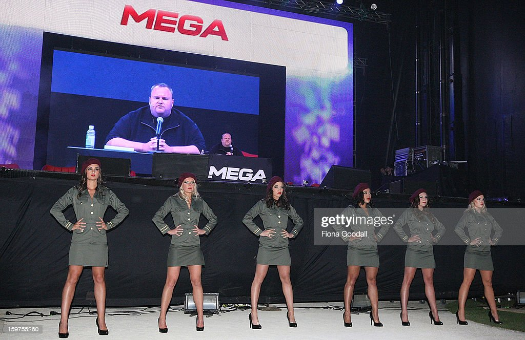 Kim Dotcom launches his new file-sharing site, Mega, on January 20, 2013 in Auckland, New Zealand. The launch comes as Dotcom continues to face extradition to the United States on copyright and racketeering charges in relation to his file sharing site, Megaupload.