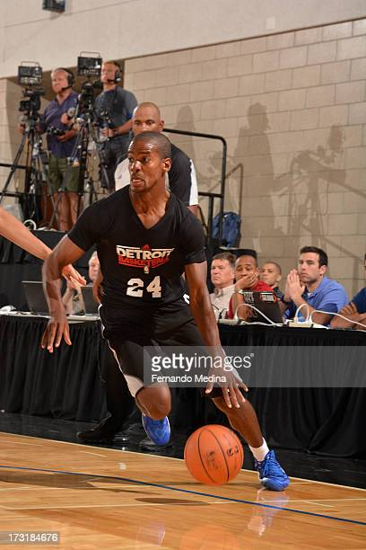 Kim English of the Detroit Pistons drives against the Oklahoma City Thunder during the 2013 Southwest Airlines Orlando Pro Summer League on July 9...