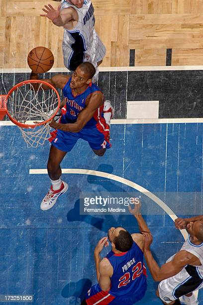 Kim English of the Detroit Pistons goes to the basket during the game between the Detroit Pistons and the Orlando Magic on January 27 2013 at Amway...