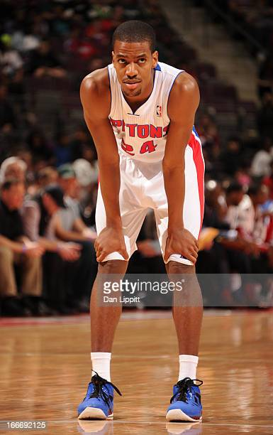 Kim English of the Detroit Pistons looks on during the game between the Detroit Pistons and the Philadelphia 76ers on April 15 2013 at The Palace of...