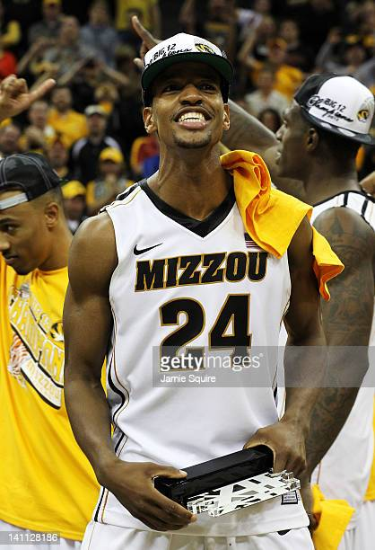 Kim English of the Missouri Tigers celebrates their 90 to 75 win over the Baylor Bears during the championship game of the 2012 Big 12 Men's...
