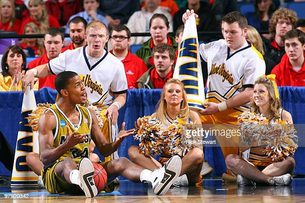 Kim English of the Missouri Tigers reacts after a call while playing against the West Virginia Mountaineers during the second round of the 2010 NCAA...