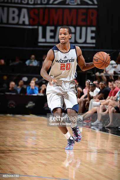 Kim English of the Washington Wizards moves the ball upcourt against the San Antonio Spurs at the Samsung NBA Summer League 2014 on July 19 2014 at...
