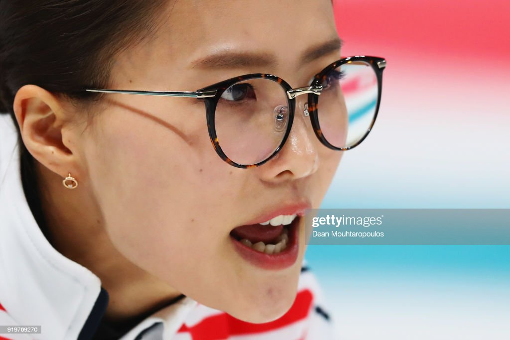 Kim Eunjung of South Korea competes during the Women Curling round robin session 7 on day nine of the PyeongChang 2018 Winter Olympic Games at Gangneung Curling Centre on February 18, 2018 in Gangneung, South Korea.