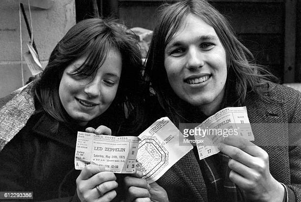 Kim Evans left and Janet Good pictured this morning after waiting all night to buy their tickets. March 1975 75-01455-003