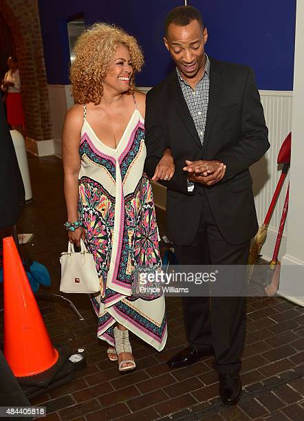 Kim Fields and Christopher Morgan attend Kenya Moore Hair Care Launch Event at M Rich Building on August 17 2015 in Atlanta Georgia
