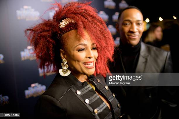 Kim Fields and husband Christopher Morgan attend the Marvel Studios 'Black Panther' Atlanta movie screening at The Fox Theatre on February 7 2018 in...